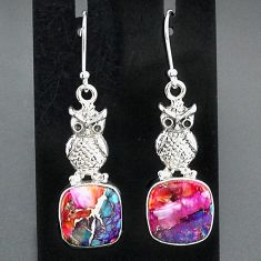10.95cts spiny oyster arizona turquoise 925 sterling silver owl earrings r95153