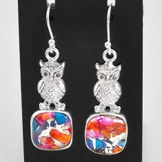 14.12cts spiny oyster arizona turquoise 925 sterling silver owl earrings t4070