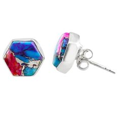 7.63cts spiny oyster arizona turquoise 925 sterling silver stud earrings r80250