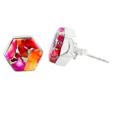 7.66cts spiny oyster arizona turquoise 925 sterling silver stud earrings r80257