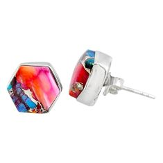7.66cts spiny oyster arizona turquoise 925 sterling silver stud earrings r80261