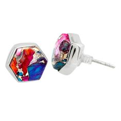 7.63cts spiny oyster arizona turquoise 925 sterling silver stud earrings r80264