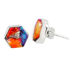 6.67cts spiny oyster arizona turquoise 925 sterling silver stud earrings r80294