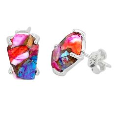 8.76cts spiny oyster arizona turquoise 925 sterling silver stud earrings r93202