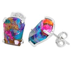 9.40cts spiny oyster arizona turquoise 925 sterling silver stud earrings r93203
