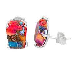 9.48cts spiny oyster arizona turquoise 925 sterling silver stud earrings r93212