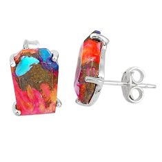 8.32cts spiny oyster arizona turquoise 925 sterling silver stud earrings r93215