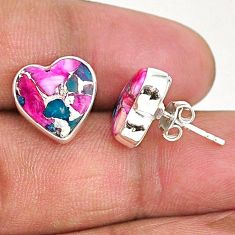 8.49cts spiny oyster arizona turquoise 925 sterling silver stud earrings r93630