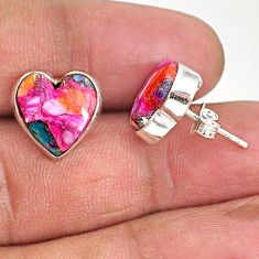 9.27cts spiny oyster arizona turquoise 925 sterling silver stud earrings r93633
