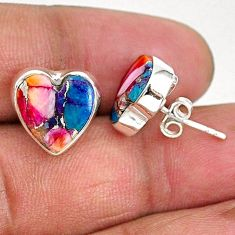 8.95cts spiny oyster arizona turquoise 925 sterling silver stud earrings r93634