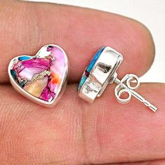 8.85cts spiny oyster arizona turquoise 925 sterling silver stud earrings r93641