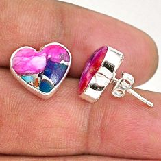 8.95cts spiny oyster arizona turquoise 925 sterling silver stud earrings r93646