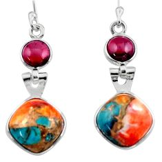 10.08cts spiny oyster arizona turquoise garnet 925 silver dangle earrings r51781