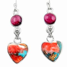 8.70cts spiny oyster arizona turquoise garnet 925 silver dangle earrings r51786