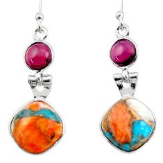10.08cts spiny oyster arizona turquoise garnet 925 silver dangle earrings r51789