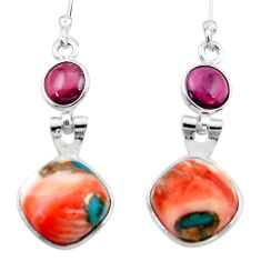10.08cts spiny oyster arizona turquoise garnet 925 silver dangle earrings r51791
