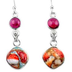 10.65cts spiny oyster arizona turquoise garnet 925 silver dangle earrings r51792