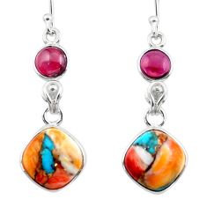 10.08cts spiny oyster arizona turquoise garnet 925 silver dangle earrings r51798