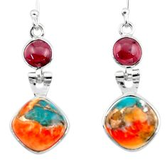 9.72cts spiny oyster arizona turquoise garnet 925 silver dangle earrings r51799