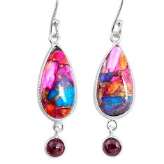 12.54cts spiny oyster arizona turquoise garnet 925 silver dangle earrings r62425