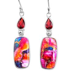 14.81cts spiny oyster arizona turquoise garnet 925 silver dangle earrings r62426