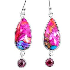 12.52cts spiny oyster arizona turquoise garnet 925 silver dangle earrings r62429