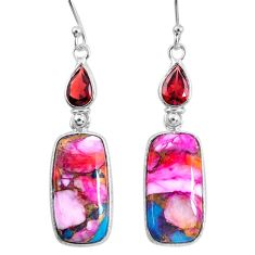 16.88cts spiny oyster arizona turquoise garnet 925 silver dangle earrings r62435