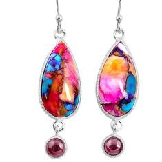 13.64cts spiny oyster arizona turquoise garnet 925 silver dangle earrings r62439