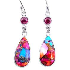 13.69cts spiny oyster arizona turquoise garnet 925 silver dangle earrings r62442
