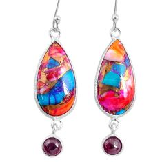 13.60cts spiny oyster arizona turquoise garnet 925 silver dangle earrings r62451