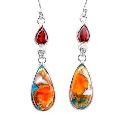 13.13cts spiny oyster arizona turquoise garnet 925 silver dangle earrings t24887