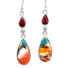 13.13cts spiny oyster arizona turquoise garnet 925 silver dangle earrings t24900