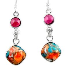 9.22cts spiny oyster arizona turquoise garnet 925 silver earrings jewelry r51802