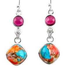 10.67cts spiny oyster arizona turquoise garnet 925 silver earrings r51805