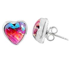 8.06cts spiny oyster arizona turquoise heart 925 silver stud earrings r62962