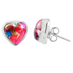 8.49cts spiny oyster arizona turquoise heart 925 silver stud earrings r62968