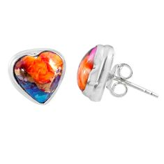 7.64cts spiny oyster arizona turquoise heart 925 silver stud earrings r62977