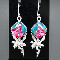 11.13cts spiny oyster arizona turquoise silver angel wings fairy earrings r95142