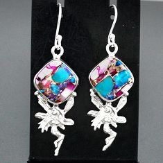 11.46cts spiny oyster arizona turquoise silver angel wings fairy earrings r95143