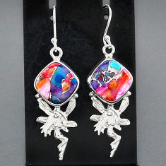10.91cts spiny oyster arizona turquoise silver angel wings fairy earrings r95146