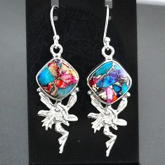 10.75cts spiny oyster arizona turquoise silver angel wings fairy earrings r95151