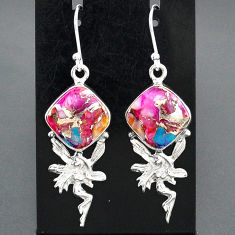 10.43cts spiny oyster arizona turquoise silver angel wings fairy earrings r95152