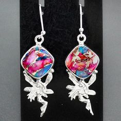 11.10cts spiny oyster arizona turquoise silver angel wings fairy earrings r95154