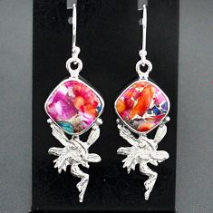 11.46cts spiny oyster arizona turquoise silver angel wings fairy earrings r95156