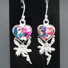 10.43cts spiny oyster arizona turquoise silver angel wings fairy earrings r95183