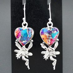 9.92cts spiny oyster arizona turquoise silver angel wings fairy earrings r95190