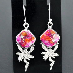 10.41cts spiny oyster arizona turquoise silver angel wings fairy earrings r96817