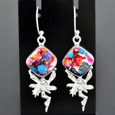 10.39cts spiny oyster arizona turquoise silver angel wings fairy earrings r96818