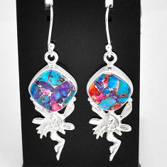 12.07cts spiny oyster arizona turquoise silver angel wings fairy earrings t4061