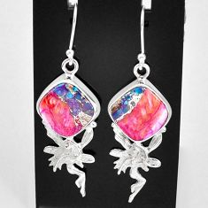 12.36cts spiny oyster arizona turquoise silver angel wings fairy earrings t4062